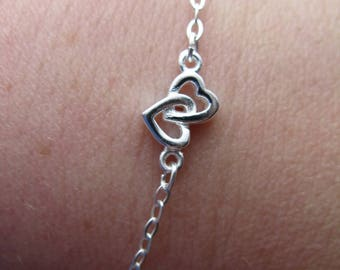 Hearts entwined in 925 silver bracelet