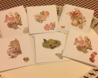 Set of 6 folded cards with envelope style chromo flowers and butterflies