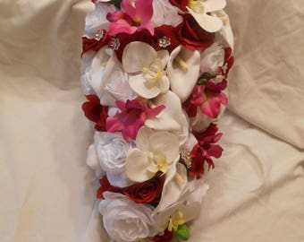 Silk cascade wedding bridal bouquet red white made of orchids roses and callas