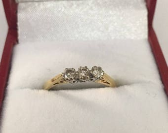 18ct Yellow Gold 3 Stone Diamond Ring Size L