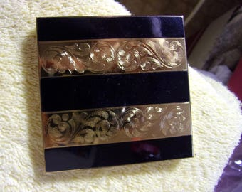 Vintage Gold and Black Toned Elgin American Powder Puff #1294-1 Compact