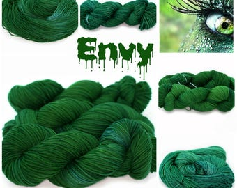 Envy, hand dyed 100% merino wool worsted weight. 220 yards
