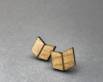 Wooden earrings/book/For reading friends/stainless steel plugs