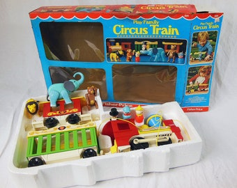 Vintage Fisher Price Circus Train 991 In Box with Elephant, Lion, Bear, Ring Master, Clown and Conductor 1973