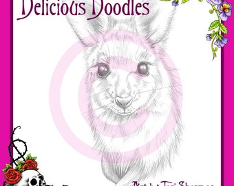 Greyscale Wallaby Sketch, Illustration, Digital Stamp, Colouring Page, Coloring Page