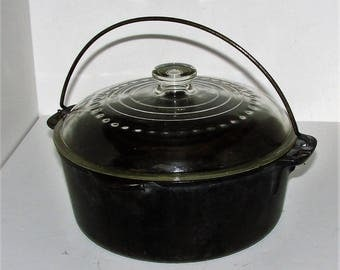 Wagner Ware 5 Quart Cast Iron Dutch Oven with Glass Lid Made In USA