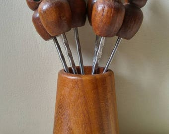Wooden mice cheese skewers with jeweled eyes / appetizer forks / fondue / 1960 , 1970 / dinner party / kitsch / set of 6 with holder