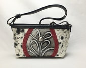 Black and White Speckled Cowhide With Red Leather Trim