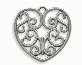 Metal 38mm antique silver heart pendant