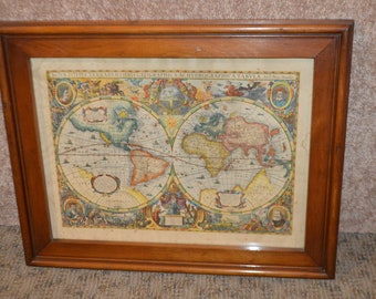 Antique European Style Wall Map in Wood Frame
