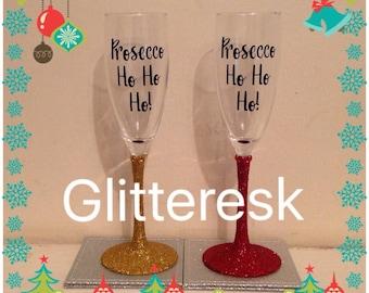 Prosecco Ho Ho Ho glitter champagne flute