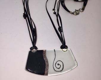 Black and White Fused Glass Necklace