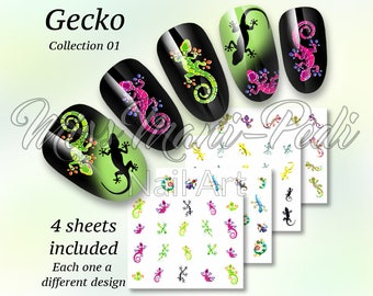 Gecko Nail Decals, Lizard Water Nail Decals, Reptile Nail Stickers, Cute Geckos Reptiles Lizards Nail Art Water Decals, Manicure Nails J2306