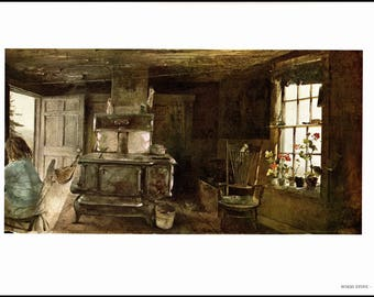 Andrew Wyeth painted Wood Stove in 1962 and Christina Olson in 1947. The page is approx 16 1/2 inches wide and 13 inches tall.