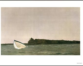 "The Wake painted by Andrew Wyeth painted in 1964. The page is approx. 16 1/2 inches wide and 13 inches tall. The image is 14"" by 8 1/2""."