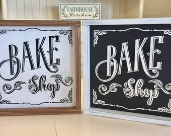 Bake Shop Sign - Bakery Sign - Farmhouse Kitchen Decor - Farmhouse Sign - Kitchen Sign - Framed Wood Sign - Wood Signs