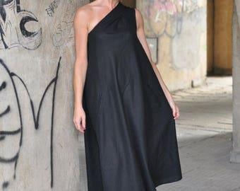 15% SUMMER SALE Black Women Dress, One Shoulder Dress, Summer Long Maxi Dress, Party Dress, Sleeveless Dress, Wedding Dress, Loose Dress, Pl