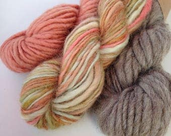 Mini Skein Bundle 90g British Wool Hand Spun and Hand dyed Yarn for Weaving Knitting Craft Woven Wall Hanging