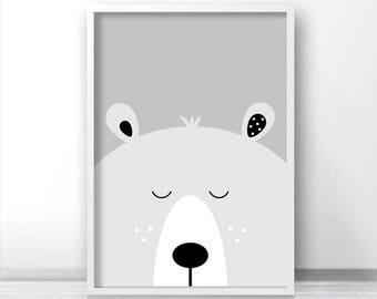 Bear Print, Digital Download Nursery Print, Bear Nursery Decor, Kids Art, Animal Print For Nursery, Kids Print, Instant Download Printable