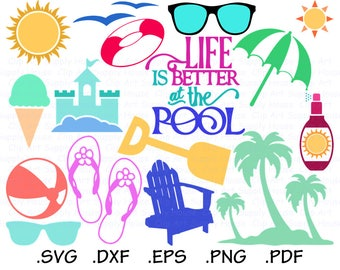 At the Beach Svg Files, Beach Scene Clipart, Sea Shell Svg, Vacation Svg download, Silhouette File, Cricut File, SVG, EPS, DXF File - CA456