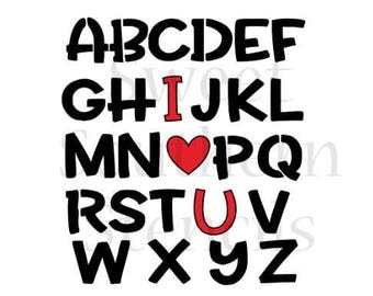 I Love U Alphabet 2 Piece Cookie Stencil Set
