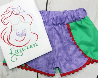 Girls Ariel Shirt- Little Mermaid Shirt- Ariel Outfit- Toddler Girl- Ariel Inspired Shorts- Baby Girl- 6m, 12m, 18m, 2t, 3t, 4, 5, 6 8