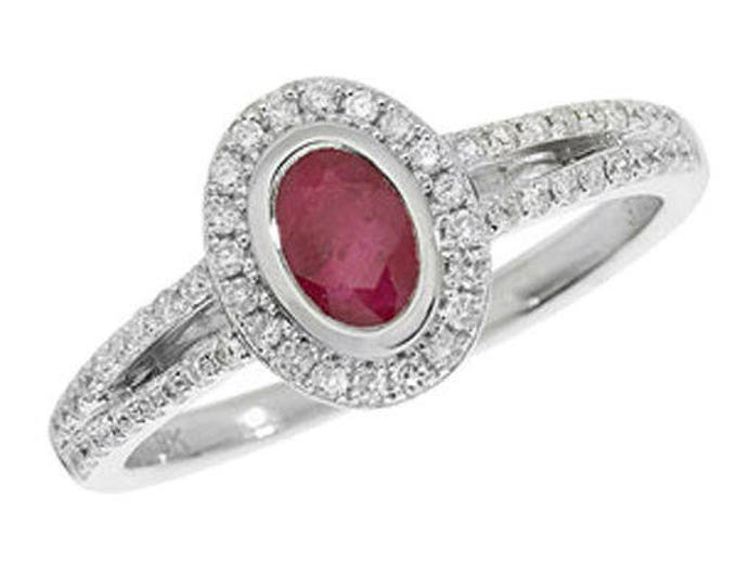 Diamond Oval RUBY 9ct White Gold Engagement Wedding Ring & 25pt Diamond Oval Cluster Ring
