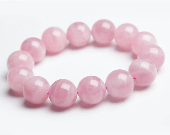 "Pink Chalcedony Bracelet Natural Gemstone 7""- 7.5"" Stretch Bracelet Available in 8 & 10 mm Round Beads-Unisex"
