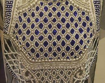 Beaded Panel - hand sewn onto net base