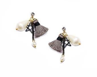 Star and Pearl Tassel Earrings ER01123