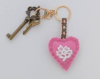 Vintage pink keychain