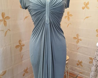 Silk and cotton jersey body hugging drape dress