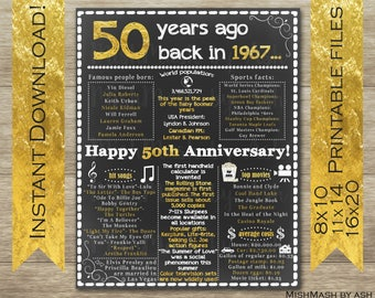 50th Anniversary Gift, 50th Anniversary Sign, 1967 Anniversary, Back in 1967, Happy 50th Anniversary, 50 Years Ago, 50th Anniversary Party