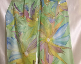 Silk scarf ,fractal flowers design,silk chifon