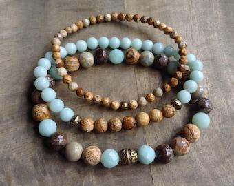 Bohemian bracelet set boho chic bracelet gemstone bracelets womens jewelry boho chic jewelry hippie jewelry stackable bracelets gift for her