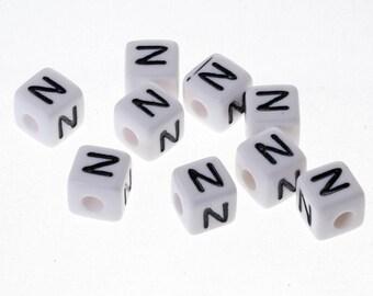 """10 Perle """"N"""" Blanche Acrylique Lettre Alphabet 10mm Bracelet, bijoux, Attache tetine"""
