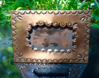 Frame, Tin Frame. Punched Tin Frame, Copper Frame, Global, Man, Dude, Small Frame, Mexico Decor, Rustic Decor, Rustic Frame, Picture Frame