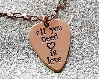 All You Need Is Love - petite copper guitar pick necklace