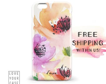 1483 // Pink Floral Phone Case Monogram Lilly Pulitzer Inspired iPhone 5/5S, 6/6S, 6+/6S+ Samsung Galaxy S5, S6, S6 Edge Plus, S7