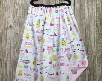 Towel child nursery canteen for girl. Pineapples, lemons, watermelon, ice)