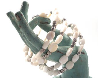 Wrap Bracelet Faceted Mother of Pearl and Thai Silver wrap women's bracelet / Ref.# WB1504