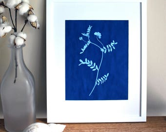 Blue Wildflower Print, Botanical Wall Art, Gallery Wall Art, Cyanotype, Instant Download, Contemporary Wall Art, Printable Art, Sun Print