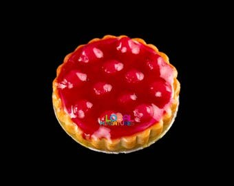 Dollhouse Miniatures Handcrafted Clay Cherry in Syrup Round Tart on Aluminum Dish - 1:12 Scale