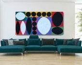 Colorful large abstract canvas, bright geometric panoramic painting Morocco, 36x72