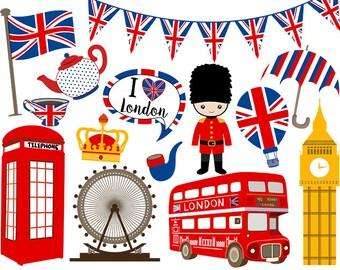 DIGITAL I Love London Digital Clip Art, Instant Download British Clipart, England Digital Clip Art, United Kingdom Clipart 0161
