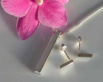 Sterling silver bar necklace and earrings set
