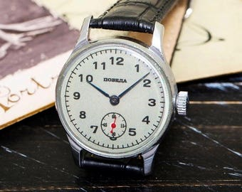 USSR Vintage Grey Pobeda Victory  Russian Soviet Mens Watch with new leather strap