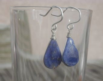 Sodalite earrings blue sterling silver