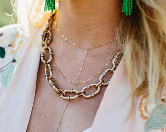 Chained Looped Necklace, Chain Necklace, Dainty Necklace, Thick Chain Necklace, Thick Chain, Necklace, gold Chain