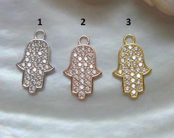 1 pc, 18x11mm, Sterling silver pave diamond CZ hamsa hand pendant charm finding, CC-0103